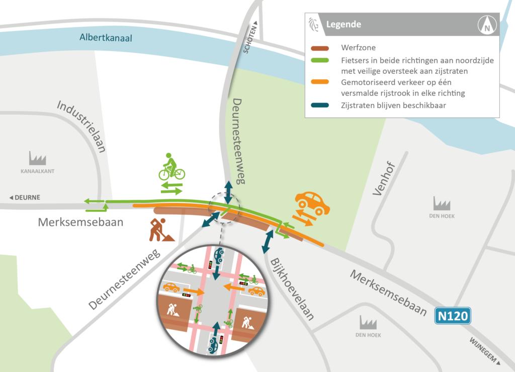 Zuidzijde Deurnesteenweg op 14 december weer bereikbaar vanaf Merksemsebaan